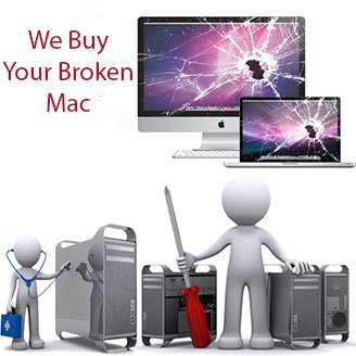 a photo of broken apple displays and computer parts