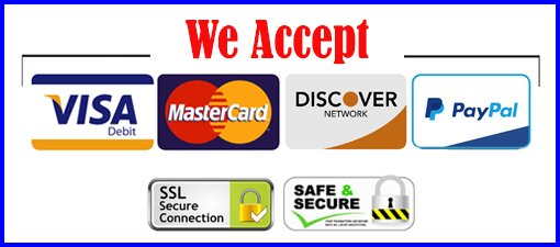 A banner showing that this website accepts all types of payments, including the different types of credit card companies